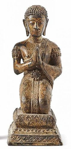 ANTIQUE PRAYING BRONZE DISCIPLE  FROM THAILAND, 19TH CENTURY