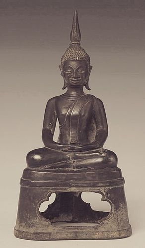 LAOS BRONZE BUDDHA IN DEEP MEDITATION, RARE, Late 18th Century