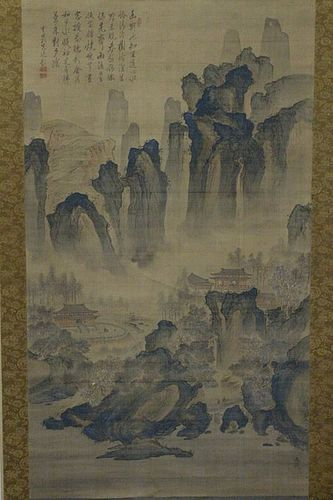 LARGE CHINESE WATERCOLOR SCROLL ON SILK WITH SIGNATURE & SEALS