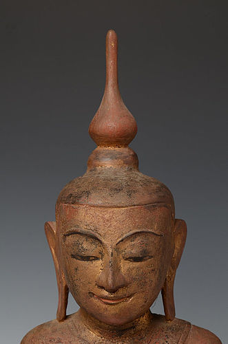 SERENE & SMILING SHAN STATE WOODEN BUDDHA, 18TH CENTURY
