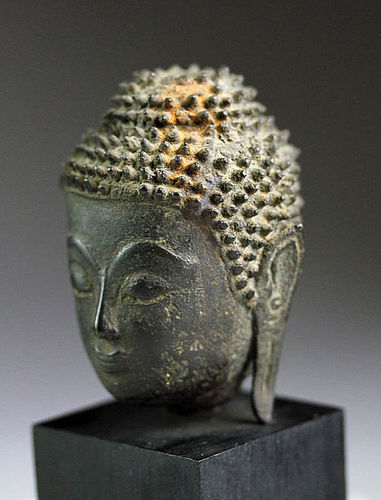 DIVINE GENUINE AYUTHAYA PERIOD BRONZE BUDDHA HEAD MOUNTED, SIAM