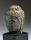 DIVINE GENUINE AYUTHAYA PERIOD BRONZE BUDDHA HEAD MOUNTED, SIAM