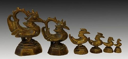 OPIUM WEIGHTS: GRADUATED SET OF 6 BRONZE MYTHICAL HINTHA BIRDS