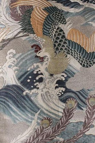 JAPANESE POLYCHROME OBI DEPICTING PHOENIX, WAVES AND PEACOCK FEATHERS