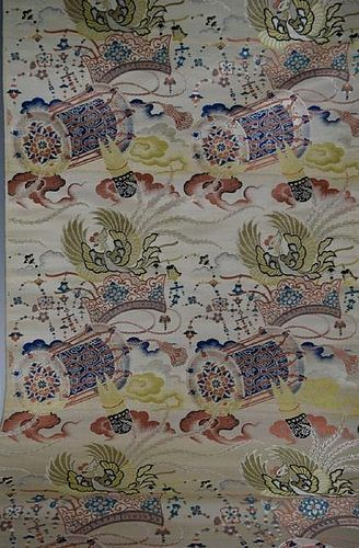 """EXCEPTIONAL ANTIQUE JAPANESE TEXTILE SILK ROLL, LENGTH 13 FEET X 27"""""""