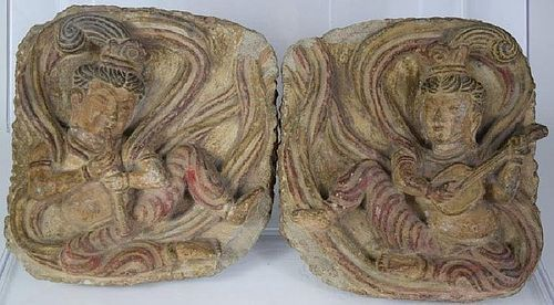 VERY RARE  SET OF 2 CHINESE STONE MUSICIANS, 10-12th CENTURY