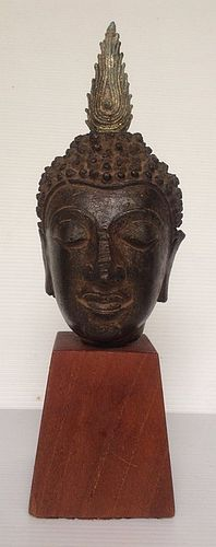 CHIANGSAEN THAI BRONZE BUDDHA HEAD MOUNTED