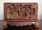 FINELY CARVED CHINESE WOODEN SHRINE BOX WITH FIGURES, 19TH CENTURY