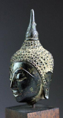 AYUTHYA THAI BRONZE BUDDHA HEAD MOUNTED, 17/18th Century