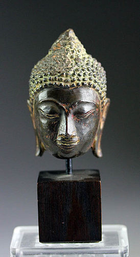 AYUTHYA THAI BRONZE BUDDHA HEAD MOUNTED, 17/18th Century