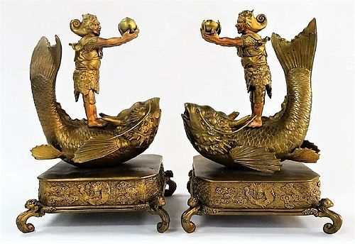 MEIJI-TAISHO PAIR OF JAPANESE KOI FISH SCULPTURE WITH RIDERS