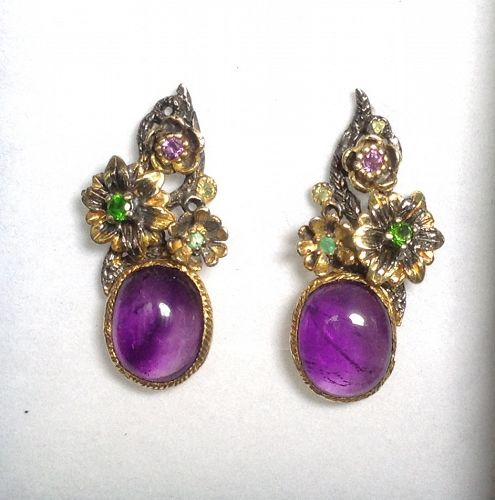 EXCEPTIONAL EARRINGS WITH GENUINE CABOCHON AMETHYSTS AND TOURMALINES