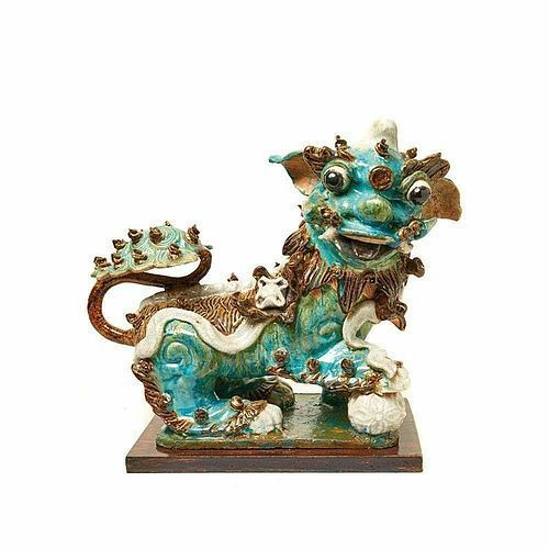 GLAZED CHINESE CERAMIC MALE FOO LION