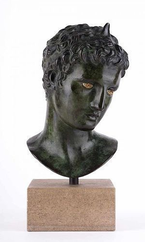 BRONZE SCULPTURE OF HANDSOME ADOLESCENT OF MARATHON, 19th Cent.