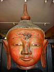 GIANT SIZE DRY LACQUER SHAN BUDDHA HEAD MOUNTED, 19TH CENTURY, BURMA