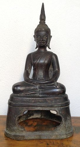 FINE LAOS BRONZE BUDDHA IN DEEP MEDITATION, RARE, LATE 18TH CENTURY