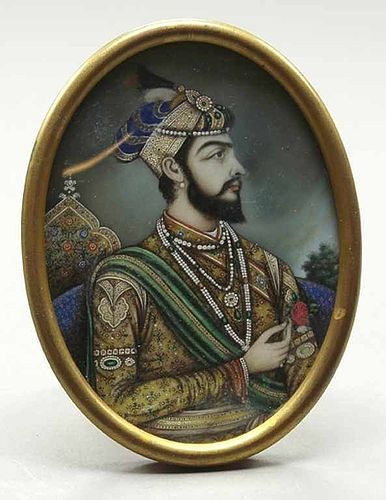 POLYCHROME MINIATURE OF SHAH JAHAN 1592-1666, FRAMED, 19TH CENTURY