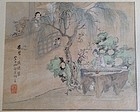 VERY FINE QING DYNASTY PAINTING DEPICTING GUZHENG PLAYER IN A GARDEN