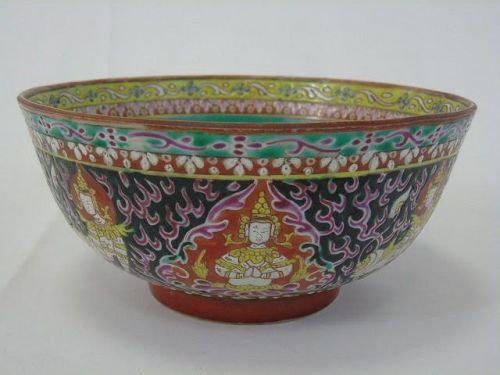 BENJARONG THAI PORCELAIN BOWL WITH CELESTIAL IMAGES, 18/19TH CENTURY