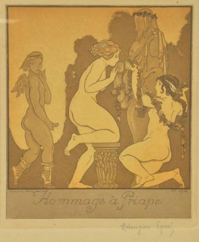 HOMMAGE A PRIAPE EROTICA ETCHING, 1916, BY ANDRE LAMBERT., FRAMED