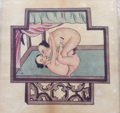 EROTIC CHINESE POLYCOLOR PAINTING, 18/19th CENTURY