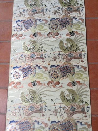 Exquisite Antique Japanese Polycolor Textile Silk Roll
