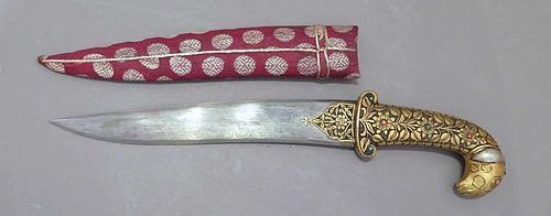 INDO-PERSIAN MUGHAL KHANJAR DAGGER WITH GOLD & PAMOR BLADE
