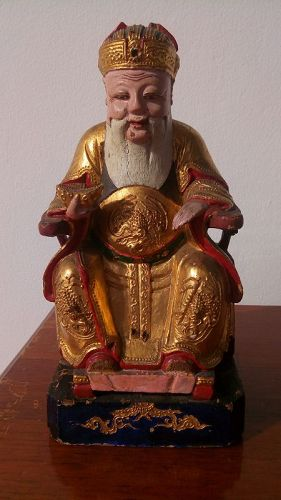 Antique Wooden Statue of God of Wealth/Caishen