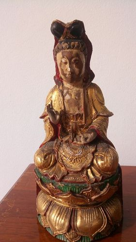 Antique Wooden Statue of Goddess GUANYIN