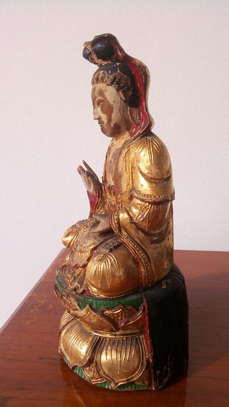 Antique Wooden Statue of Goddess GUANYIN