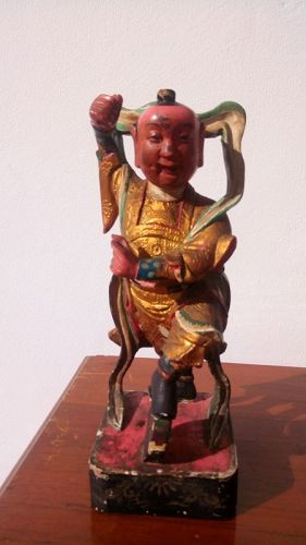 Antique Wooden Chinese Statue of God NAJA