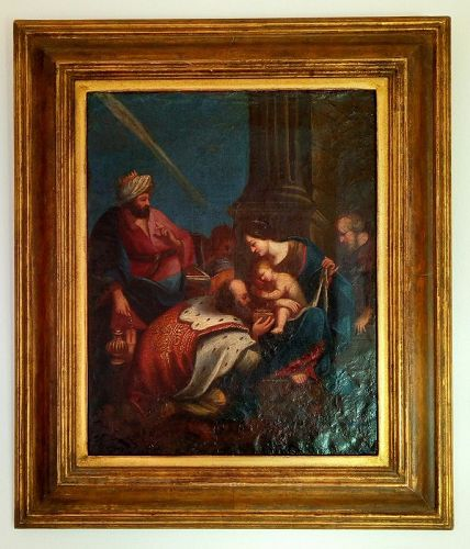 18th CENTURY ORIGINAL VENETIAN OIL PAINTING OF JESUS & 3 MAGI