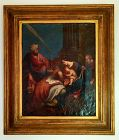 18th CENTURY ORIGINAL VENETIAN OIL PAINTING OF JESUS & 3 MAGI