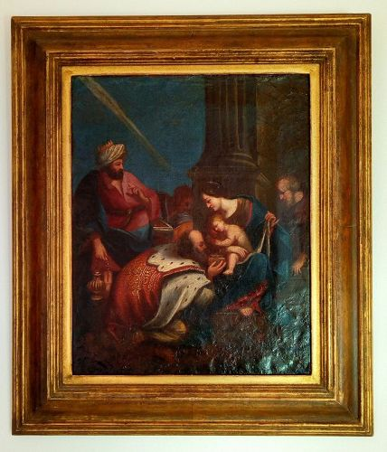 18th CENTURY ORIGINAL VENETIAN OIL PAINTING WITH JESUS AND THE 3 MAGI
