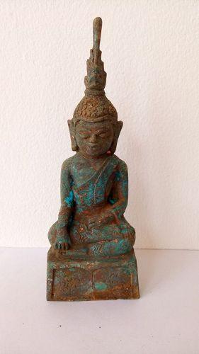 RARE & FINE 17 th CENTURY EXCAVATED BRONZE BURMA BUDDHA