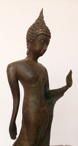Very Rare Bronze SUKKOTHAI Walking Buddha