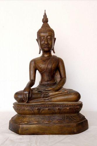 RARE SUKKOTHAI BRONZE BUDDHA SUBDUING MARA