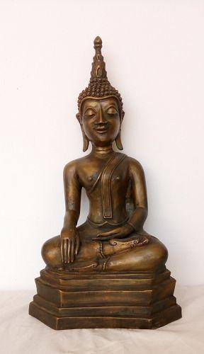 FINE LAOTIAN BRONZE BUDDHA SUBDUING MARA