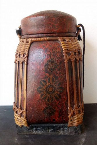 Antique Northern Thai Bamboo/Lacquer Basket