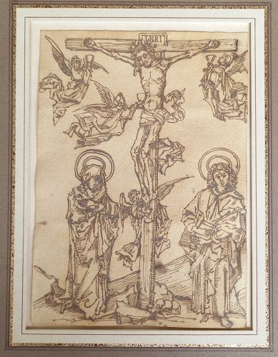 The  very Ancient Crucifixion Woodcut framed