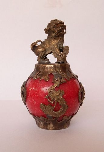 Tibetan silver and Jade with Foo Lion-Dog