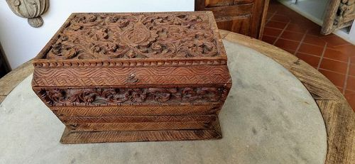 Antique hand carved Wooden Box