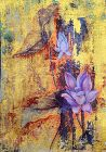 Serene Lotus Painting with Gold and Copper sheen