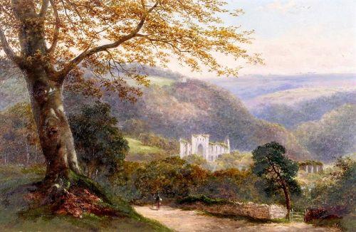 Original Oil Painting of abandoned Monastery,19th Century