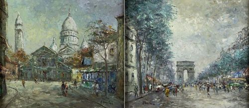 2 Original Oil Paintings of PARIS, France, signed.