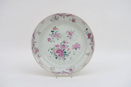 Antique FAMILLE ROSE PORCELAIN PLATE with flowers, 18th Century.