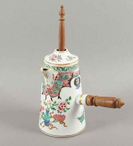 Antique SAMSON Porcelain CHOCOLATE POT WITH ORIGINAL WOODEN HANDLE/WHI