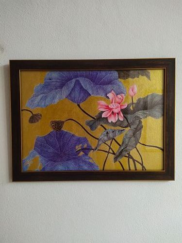 Original Acrylic Painting of Lotus, nicely framed.