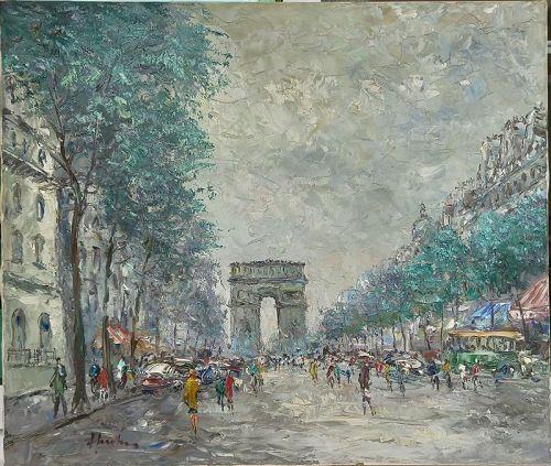 PARIS, ARC DE TRIOMPHE. Original Oil Painting by J. Linz, signed.