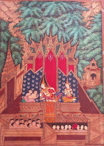 "Original Thai Classical Painting ""BENEVOLANCE OF THE LORD BUDDHA"""